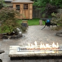 Linear Gas Firepit and Landscaping